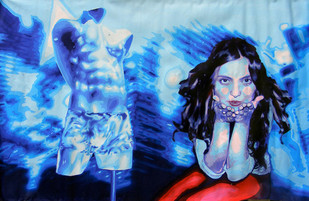 All you Hunks take my Kiss by Satadru Sovan Banduri, Pop Art Painting, Acrylic on Canvas, Blue color