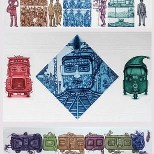 Life of Journey by Sandeep Suneriya, Conceptual Printmaking, Etching on Paper, Gray color