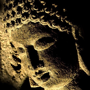 Buddha by CR Shelare, Image Photograph, Digital Print on Canvas, Brown color