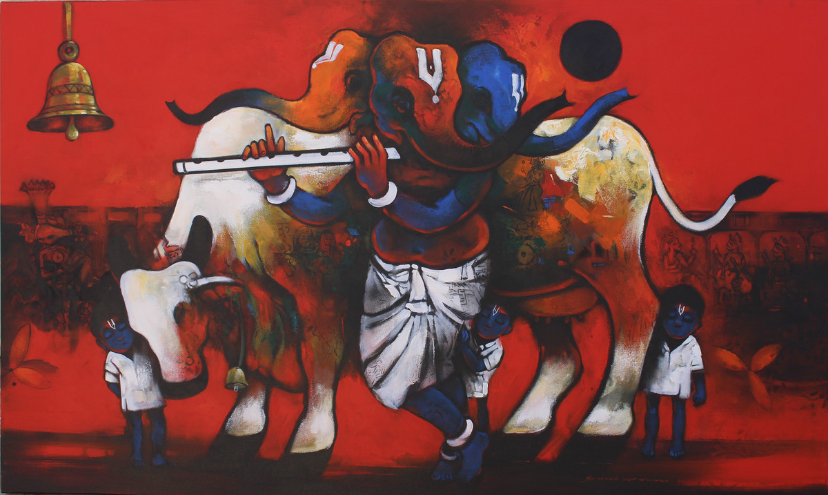 Bhakti & Shakti by Suresh Gosavi, Decorative Painting, Acrylic on Canvas, Brown color