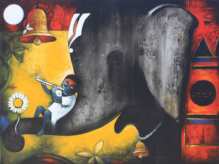 Bhakti & Shakti by Suresh Gosavi, Decorative Painting, Acrylic on Canvas, Gray color