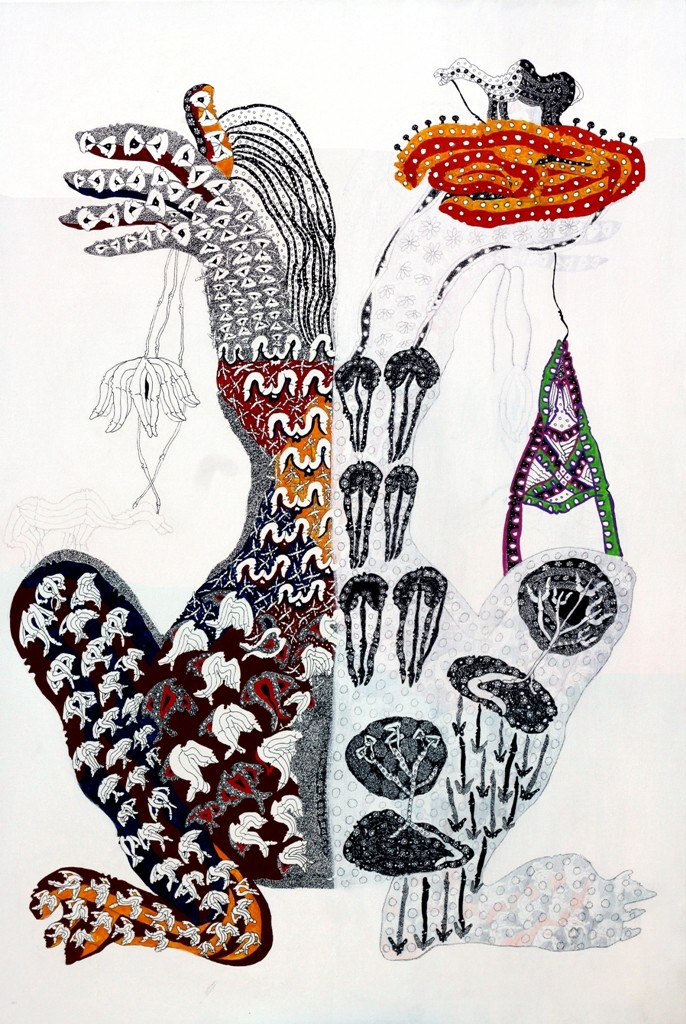 Untitled 18 by Supriy Sharma, Tribal Painting, Mixed Media on Canvas, Gray color