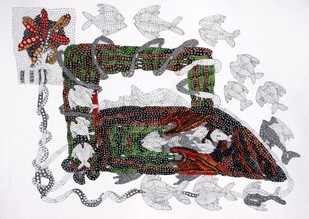 Untitled 179 by Supriy Sharma, Tribal Painting, Watercolor & Ink on Paper, Gray color