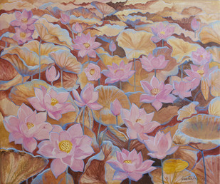 Lotus3 by Santanu Das, Image Painting, Acrylic on Canvas,