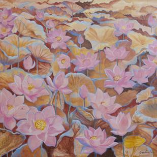 Lotus3 by Santanu Das, Image Painting, Acrylic on Canvas,