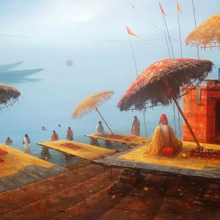 Banaras by Paramesh Paul, Impressionism Painting, Acrylic on Canvas, Brown color