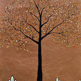 Swarn by Sumit Mehndiratta, Decorative Painting, Acrylic on Paper, Brown color