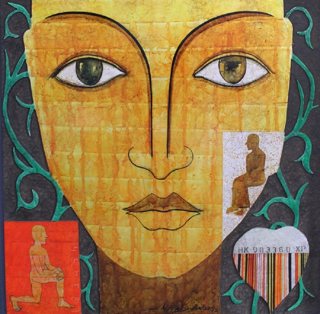 Untitled by Chippa Sudhakar, Decorative Painting, Mixed Media on Wood, Orange color