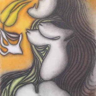 Untitled by Prokash Karmakar, Expressionism Drawing, Pastel on Paper, Gray color