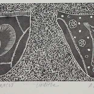 Untitled by Porika Ravi Kumar, Conceptual Printmaking, Linocut Print on Paper, Gray color