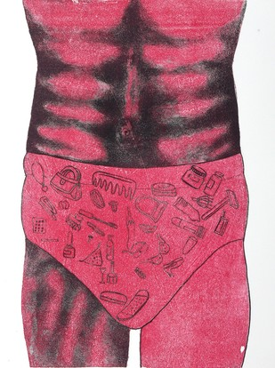 Untitled by Porika Ravi Kumar, Conceptual Printmaking, Lithography on Paper, Pink color
