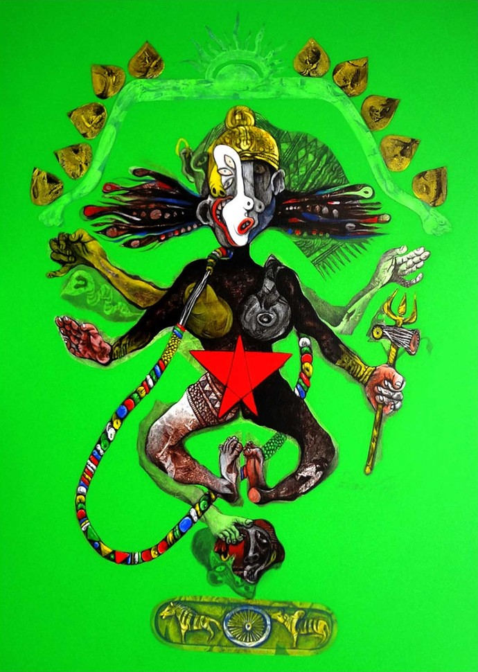 Nataraja II by Mahesh Pal Gobra, Expressionism Painting, Acrylic on Canvas, Green color