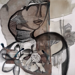 Rasa Rang by Aparna Banerjee, Conceptual Painting, Acrylic & Ink on Paper, Gray color