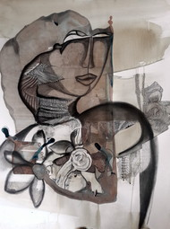Rasa Rang by Aparna Banerjee, Conceptual Painting, Acrylic & Ink on Paper, Gray color