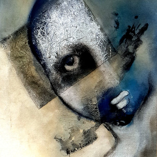 A Story to Tell 2 by Aparna Banerjee, Conceptual Painting, Mixed Media on Canvas, Gray color