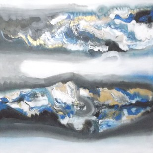 Creative Landscape by Deepak Guddadakeri, Abstract Painting, Acrylic on Canvas, Gray color