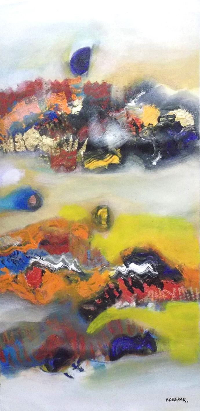 Creative Landscape by Deepak Guddadakeri, Abstract Painting, Acrylic on Canvas, Brown color