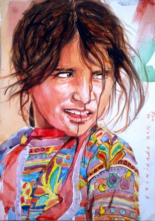 Girl in Pushkar Digital Print by Sreenivasa Ram Makineedi,Realism