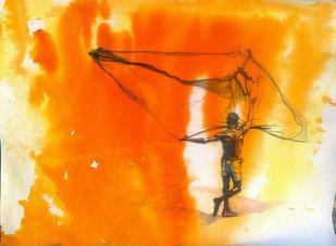 Fisher Man Digital Print by Sreenivasa Ram Makineedi,Impressionism