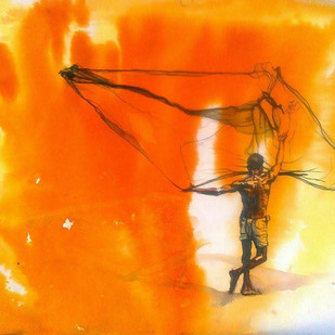 Fisher Man by Sreenivasa Ram Makineedi, Impressionism Painting, Watercolor & Ink on Paper, Orange color