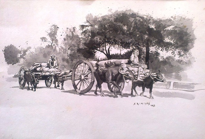 Image result for bullock cart scenes