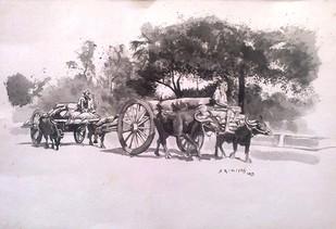 Village Scene Digital Print by Sreenivasa Ram Makineedi,Impressionism