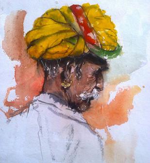 RajsthaniMan1 by Sreenivasa Ram Makineedi, Realism Painting, Watercolor on Paper, Pink color