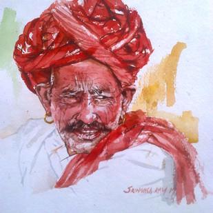 Rajasthani Man 2 by Sreenivasa Ram Makineedi, Realism Painting, Watercolor on Paper, Pink color
