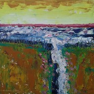 Landscape by Maredu Ramu, Impressionism Painting, Acrylic on Canvas, Brown color