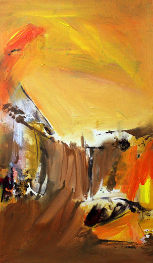 When I Felt Heat by Nishi Nitya sharma, Abstract Painting, Acrylic on Canvas, Brown color