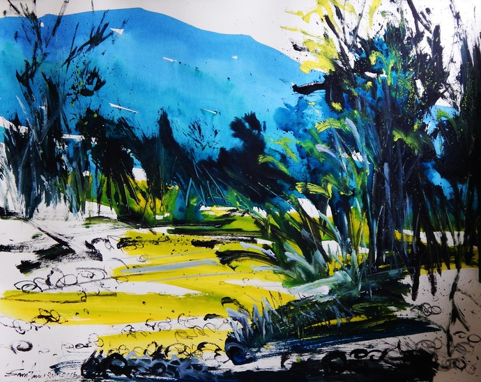 Landscape II by Santanu Roy, Impressionism Painting, Watercolor on Paper, Blue color