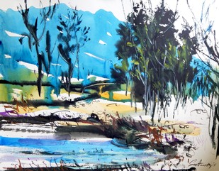 Landscape III by Santanu Roy, Impressionism Painting, Watercolor on Paper, Cyan color
