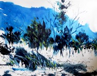 Landscape IV by Santanu Roy, Impressionism Painting, Watercolor on Paper, Blue color