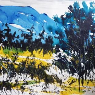 Landscape V by Santanu Roy, Impressionism Painting, Watercolor on Paper, Blue color