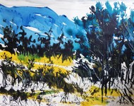 Landscape V by Santanu Roy, Impressionism Painting, Watercolor on Paper, Blue color