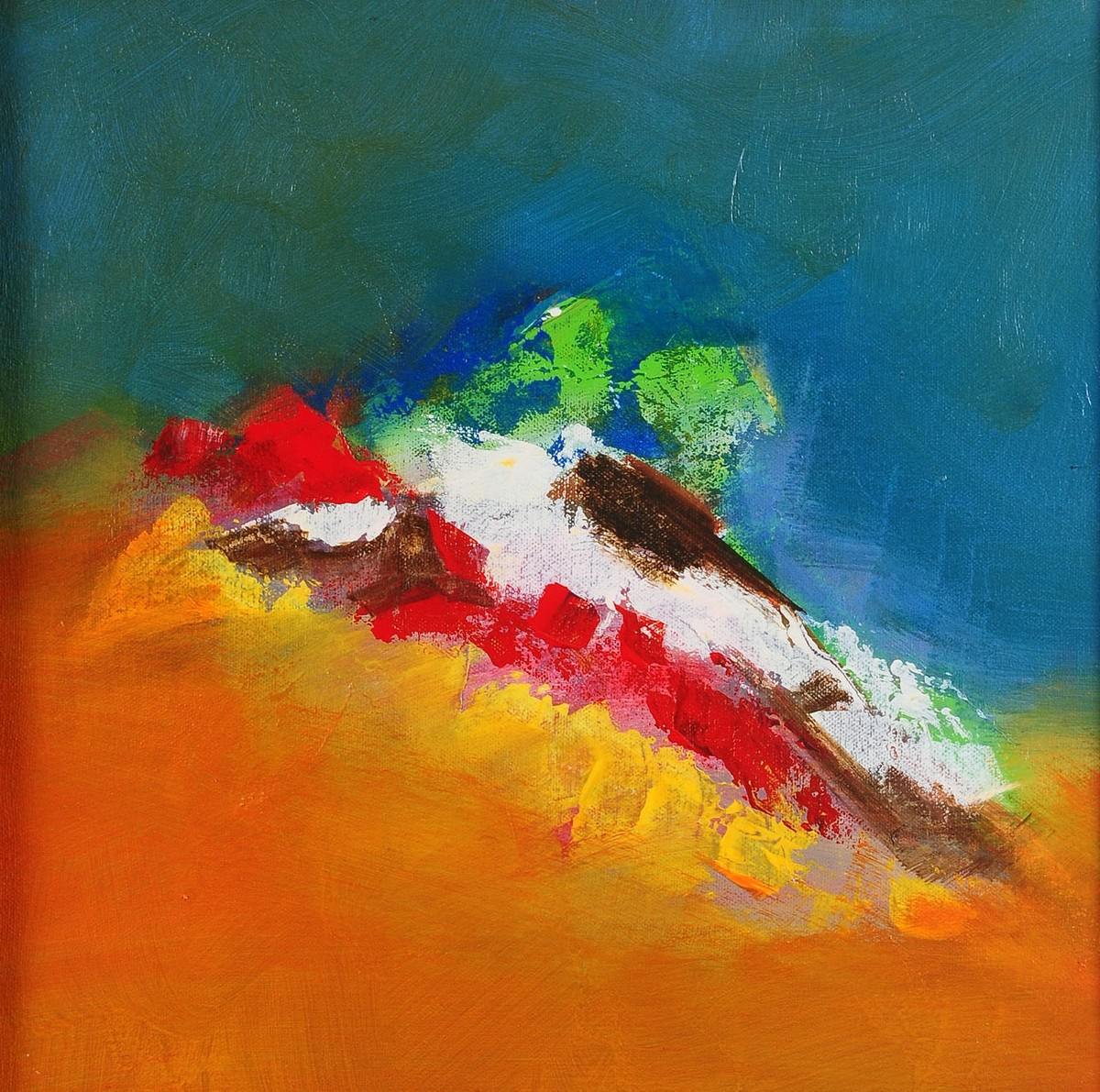 Blue Day 4 by Sadhana Raddi, Abstract Painting, Acrylic on Canvas, Orange color