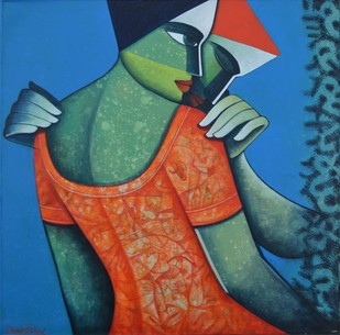 Life 106 by Nawal Kishore, Decorative Painting, Acrylic on Canvas, Blue color