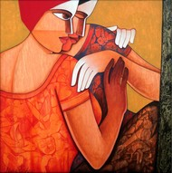 Life 104 by Nawal Kishore, Decorative Painting, Acrylic on Canvas, Brown color