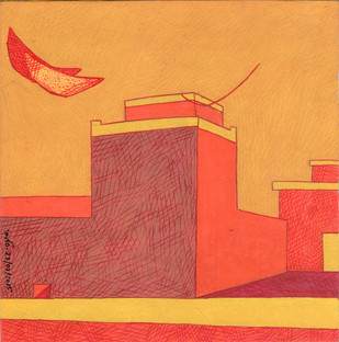 House with Double Moon by Amit Biswas, Decorative Painting, Tempera on Paper, Beige color