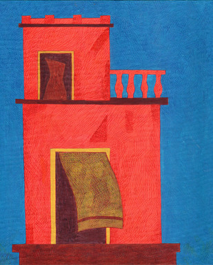 The Wind by Amit Biswas, Decorative Painting, Tempera on Paper, Blue color