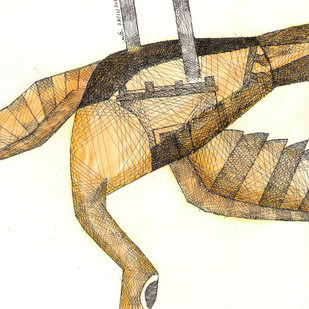 Fallen Bird by Amit Biswas, Illustration Painting, Mixed Media on Paper, Beige color
