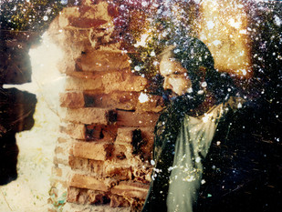 Man and The Ruin by Anirban Datta, Image Photograph, Digital Print on Paper, Brown color