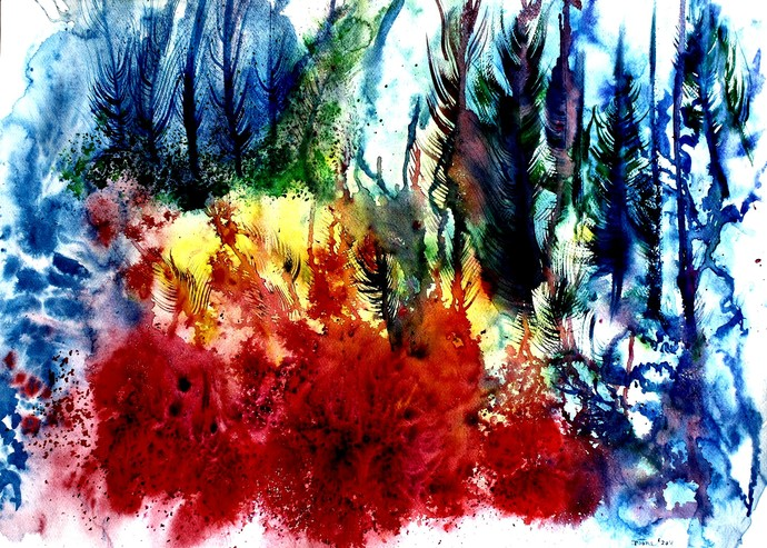 Escape New 04 by Runa Biswas, Abstract Painting, Watercolor Wash on Paper, Blue color