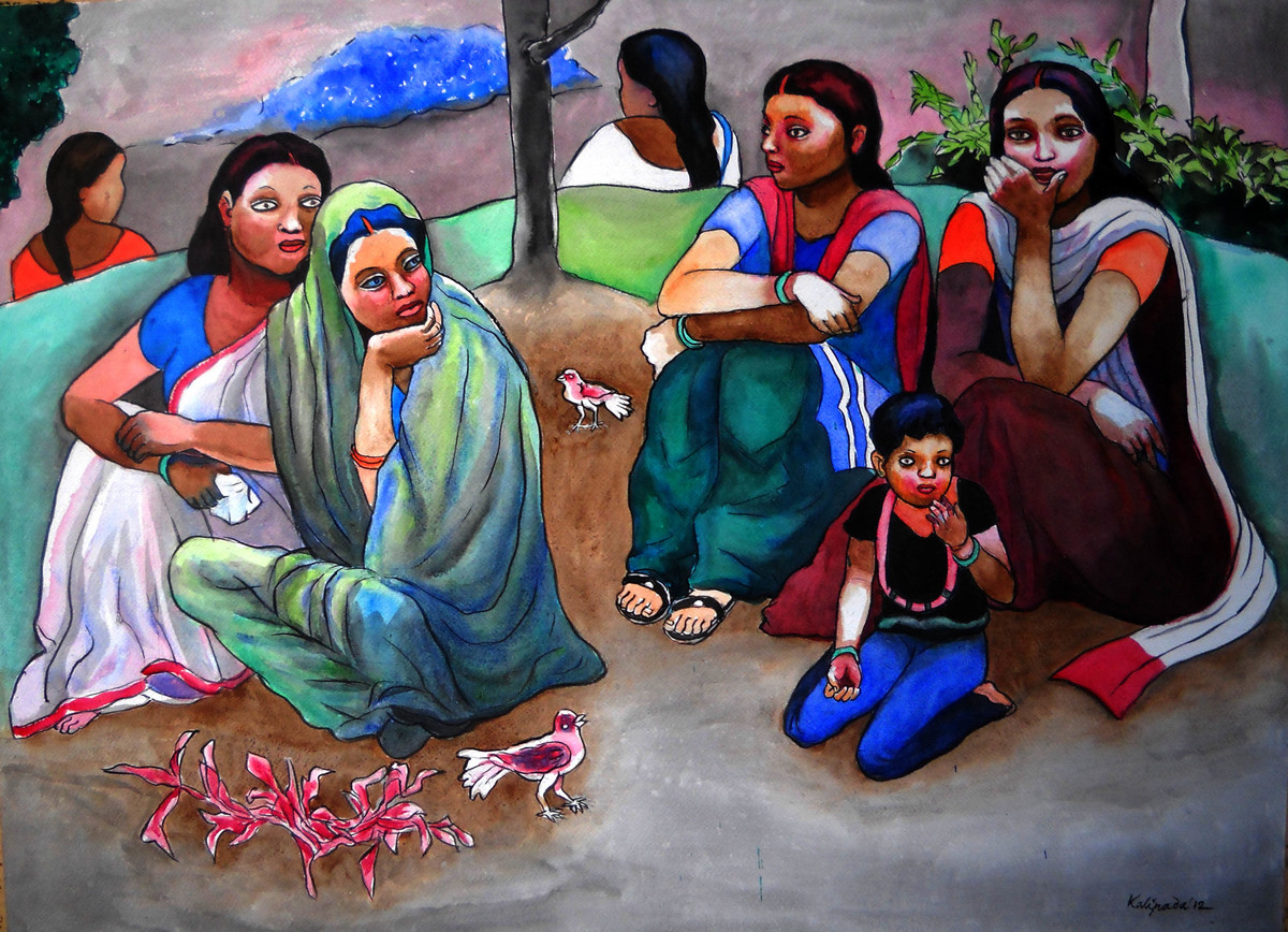 Women are Relaxing by Kalipada Purkait, Decorative Painting, Watercolor on Paper, Brown color