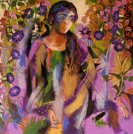 Morning Glory by Anjani Reddy, Decorative Painting, Acrylic on Canvas, Brown color