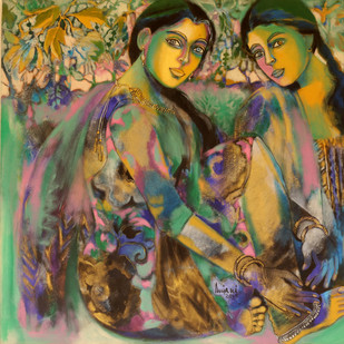 Friends by Anjani Reddy, Decorative Painting, Acrylic on Canvas, Brown color