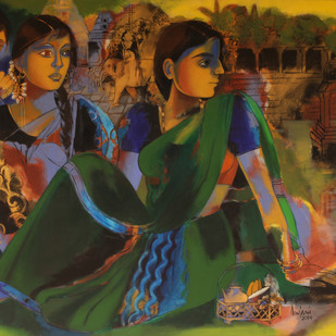 At the Temple by Anjani Reddy, Decorative Painting, Acrylic on Canvas, Brown color