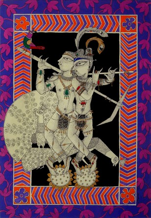 Krishna Balram by Samik De, Folk Painting, Acrylic & Ink on Paper, Purple color