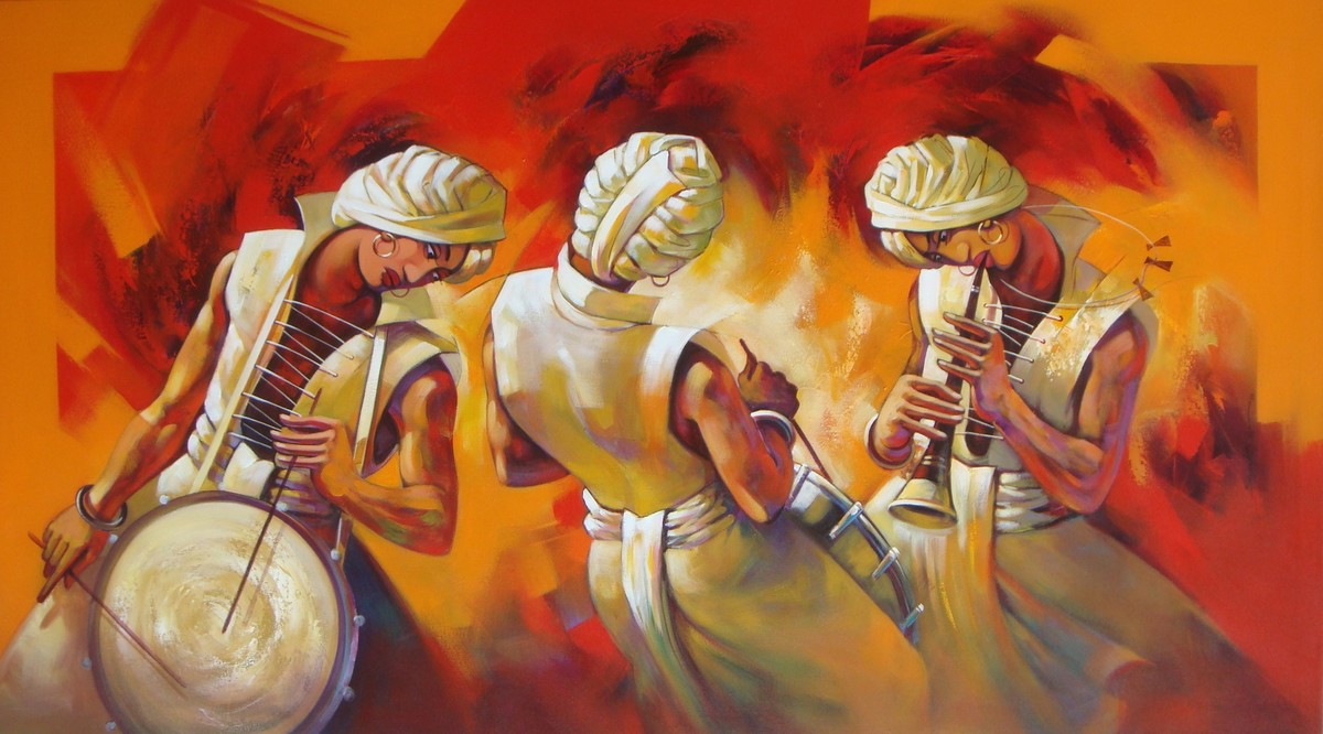 Musician by Shankar Gojare, Decorative Painting, Acrylic on Canvas, Brown color