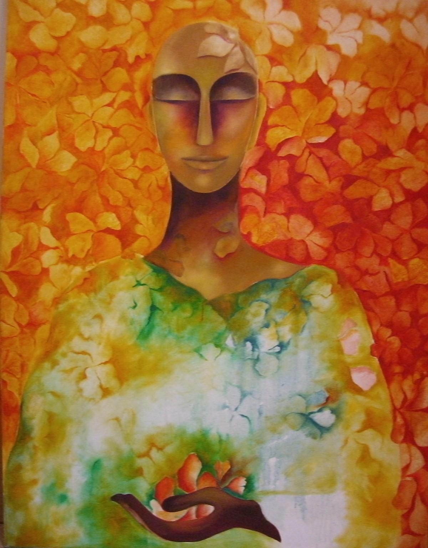 Simple Abundance by Prenita Dutt, Decorative Painting, Oil on Canvas, Brown color